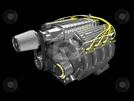 3d super charge engine stock photo, 3d super charge engine on black background by John Teeter