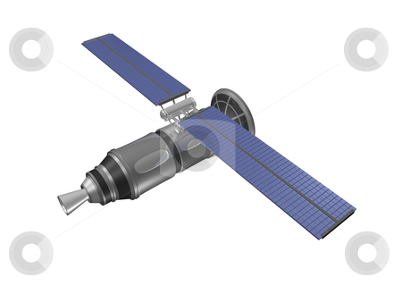 Top back view of satellite stock photo, Top back view of satellite by John Teeter