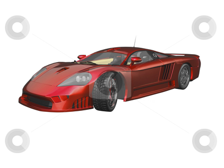 3D Cherry Red Sports Car stock photo, 3D Cherry Red Sports car by John Teeter