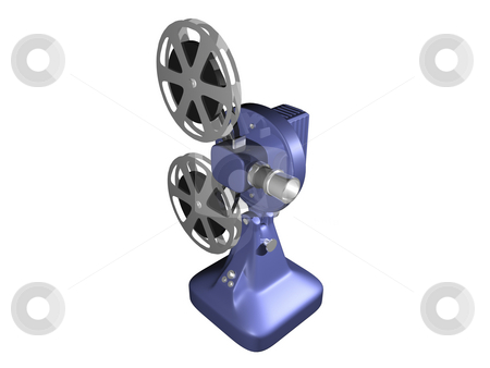 Blue film projector on white stock photo, Blue film projector on white background by John Teeter