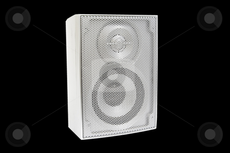 Single speaker on black stock photo, Single speaker on black background by John Teeter