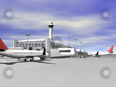 3D airport side view stock photo, 3D Airport terminal side view by John Teeter