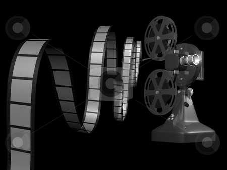 Film projector with film stock photo, Film projector with film on black background 3d render by John Teeter