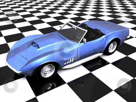 3D Blue sports car checkered stock photo, 3D Blue sports car on checkered showroom background by John Teeter