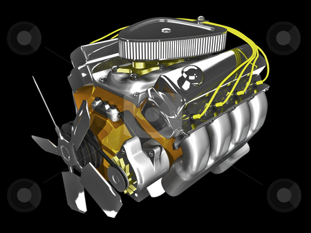 3D engine with fan stock photo, 3D engine with fan on black background by John Teeter