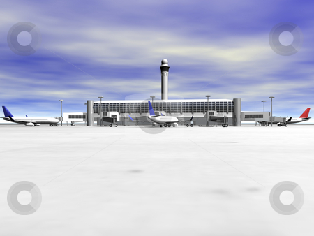 3D Airport front view stock photo, 3D Airport with planes front view by John Teeter
