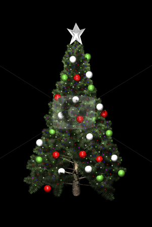 Christmas tree in 3D stock photo, in 3D on black background by John Teeter