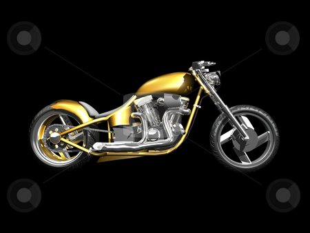 3D Motorcycle side view stock photo, 3D Motorcycle side view on black by John Teeter