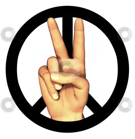 3D hand giving peace sign stock photo, 3D hand giving peace sign on white by John Teeter