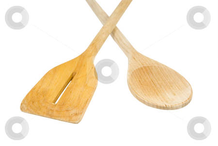 Two wooden spoons stock photo, Twon wooden spoons on isolated white background by John Teeter