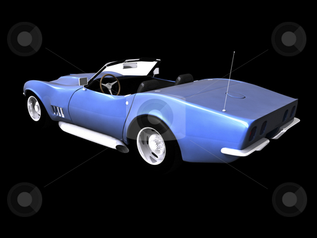 3d Blue sports car rear stock photo, 3D Blue sports car rear view on black by John Teeter