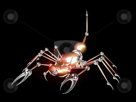 3D Robotic scorpion orange stock photo, 3D Robotic scorpion orange on black background by John Teeter
