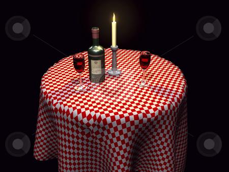 3D Restaurant setting with wine lit stock photo, 3D restaurant setting with wine and candle lit by John Teeter