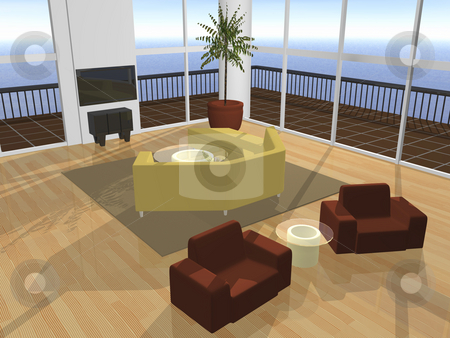 3D Interior setting stock photo, 3D interior setting furnished with ocean view by John Teeter