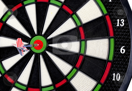 Bulls-eye close up stock photo, Dart Board bulls-eye close up by John Teeter