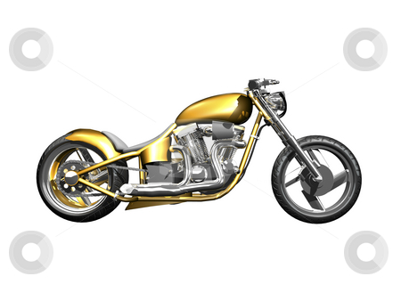 3D Motorcycle side view  stock photo, 3D Motorcycle side view on white isolated by John Teeter