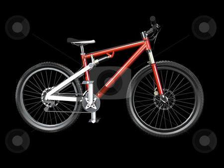 3D Mountain bike red stock photo, 3D Mountain bike red side view on black by John Teeter