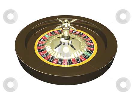 3D Roulette wheel isolated stock photo, 3D Roulette wheel isolated on white background by John Teeter