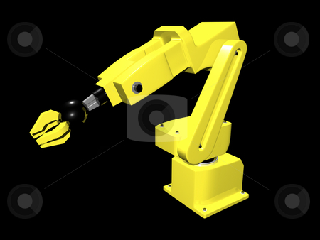 3D Automated Arm stock photo, 3D Automated arm on black background by John Teeter