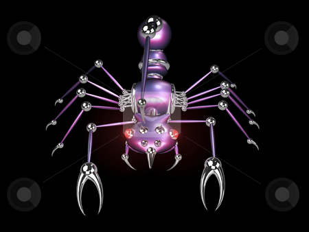 3D robotic scorpion front stock photo, 3d robotic scorpion front view on black background by John Teeter