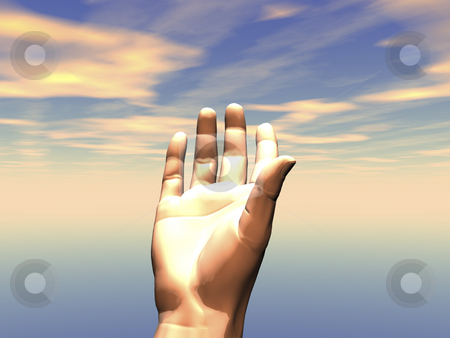 3D Hand reaching stock photo, 3D Hand reaching up to sky with light by John Teeter