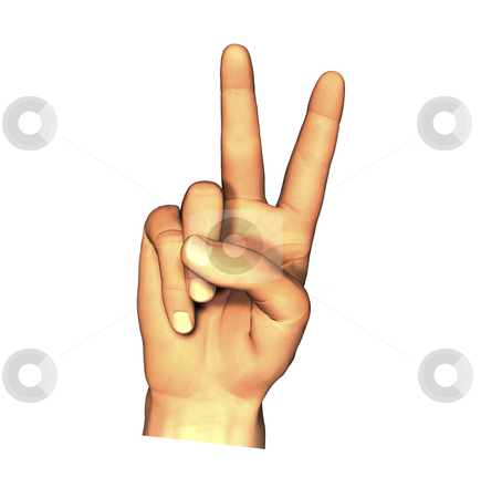 3D hand giving peace sign stock photo, 3D hand giving peace sign isolated by John Teeter