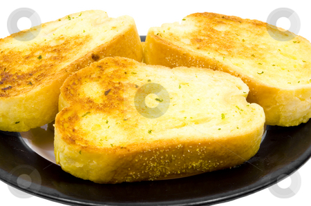 Close up of garlic bread stock photo, Close up of garlic bread on plate by John Teeter
