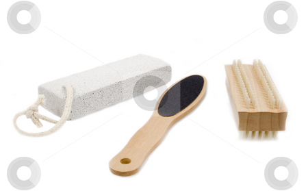 Pedicure tools on white stock photo, Pedicure tools on white background by John Teeter