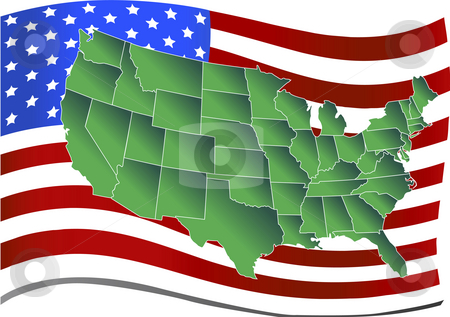 United states over american flag stock photo, United states map over american flag illustration by John Teeter