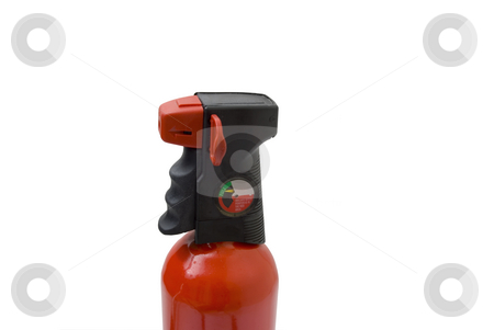 Fire Extinguisher with pin stock photo, Fire Extinguisher with pin on white by John Teeter