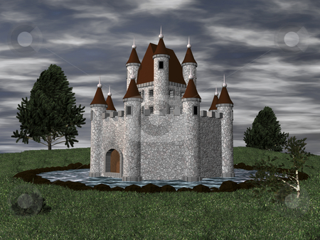 3D Castle with moat stock photo, 3D castle setting with moat by John Teeter