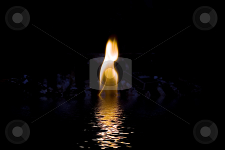 Fire water and ice stock photo, Fire flame with water and ice by John Teeter