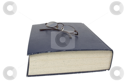Large book with glasses stock photo, Large think book with reading glasses by John Teeter