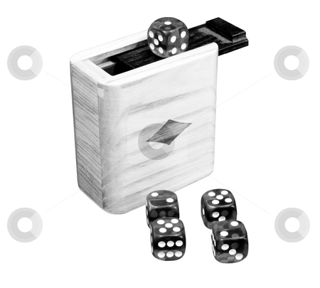 Black and white dice stock photo, Black and white dice isolated with box by John Teeter