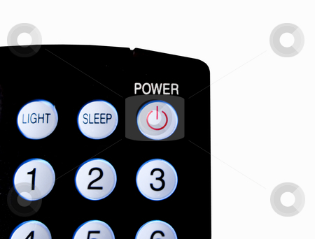 Close up of remote control stock photo, Close up of remote control power button isolated by John Teeter