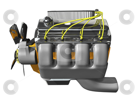 3d engine on white stock photo, 3d engine on white background side view by John Teeter
