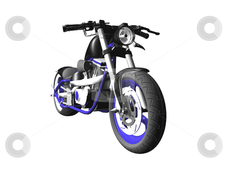 3D motorcycle on white 1 stock photo, 3D Motorcycle on white background 1 by John Teeter
