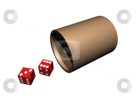 Dice on white stock photo, Dice out of cup on isolated background by John Teeter