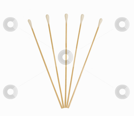 Q-Tip design 2 stock photo, 5 Q-tips on isolated white background by John Teeter
