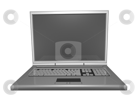 3D Laptop front view stock photo, 3D laptop front view isolated by John Teeter
