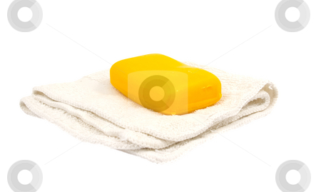 Soap and rag stock photo, Bar of soap and white rag by John Teeter