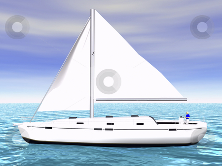 3D Sailboat on water side view stock photo, 3D Sailboat on ocean side view with sky by John Teeter