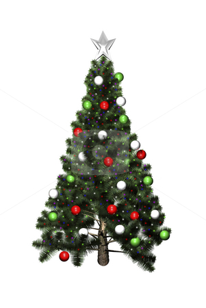 3D Christmas tree isolated stock photo, 3D Christmas tree isolated on white background by John Teeter
