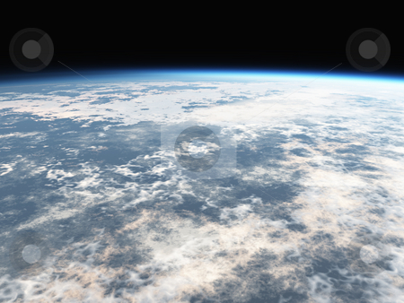 Earths Atmosphere 3D stock photo, Earths atmosphere 3D by John Teeter