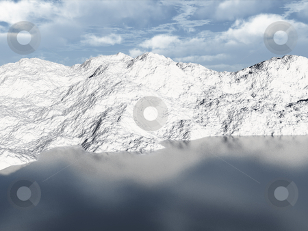 Mountain lake 3d scene stock photo, 3D winter scene with frozen lake by John Teeter