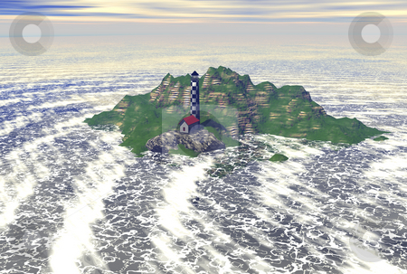 3D lighthosue stock photo, 3D lighthouse on island in ocean by John Teeter