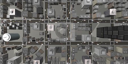 Aerial view of 3D city stock photo, Aerial view of a 3D city by John Teeter