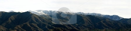 Topa Topa With Snow (P4) stock photo, Landscape shot of the Ojai valley with snow on the mountains. by Henrik Lehnerer