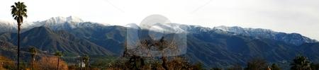 Ojai Valley With Snow (P6) stock photo, Landscape shot of the Ojai valley with snow on the mountains. by Henrik Lehnerer