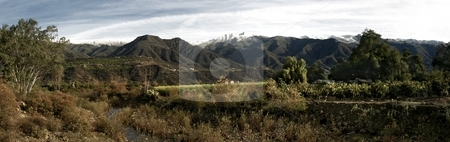 Ojai Valley With Snow stock photo, Landscape shot of the Ojai valley with snow on the mountains. by Henrik Lehnerer